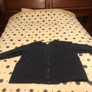 Dark blue button down cardigan, never worn